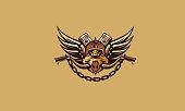 motorcycle club boar vector icon