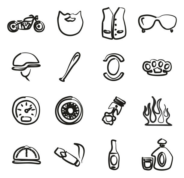Motorcycle Club Icons Freehand This image is a vector illustration and can be scaled to any size without loss of resolution. three wheel motorcycle stock illustrations