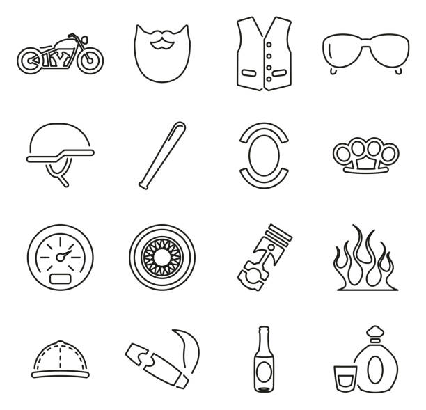 Motorcycle Club or Motorcycle Gang Icons Thin Line Vector Illustration Set This image is a vector illustration and can be scaled to any size without loss of resolution. three wheel motorcycle stock illustrations
