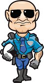 Adobe Illustrator cartoon of a motorcycle cop wearing sunglasses, carrying his helmet and standing at attention.