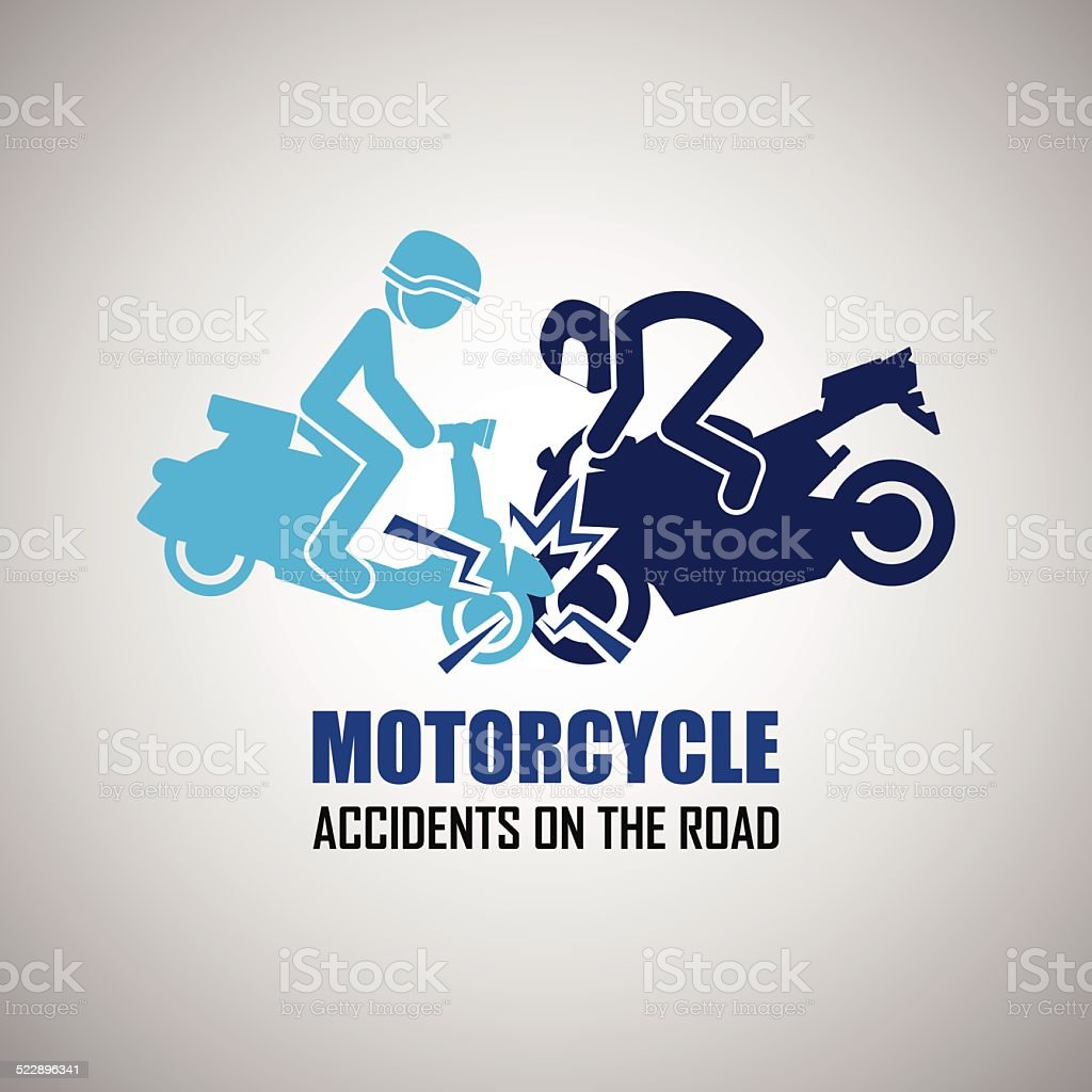Motorcycle crash and accidents icons vector art illustration