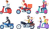 Motorcycle driving. Man rides with woman and kids postal food pizza deliver vector characters cartoon. Man and woman transportation on bike illustration