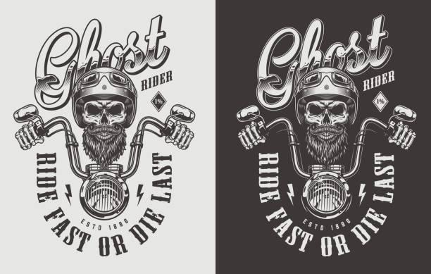 bildbanksillustrationer, clip art samt tecknat material och ikoner med motorcykel emblem med skalle - motorcyklist