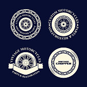 Motorcycle emblems in monochrome silhouette style