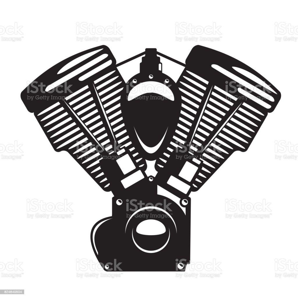 Ilustración De Emblema De Motor Motos En Estilo Monocromo