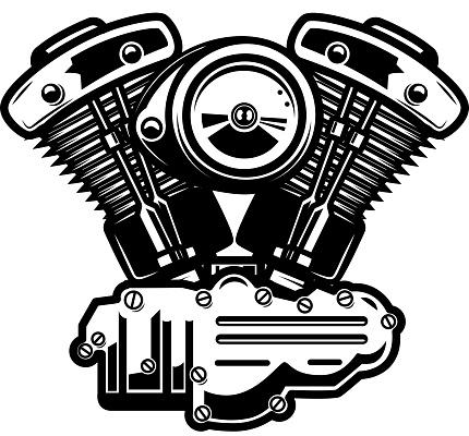 Motorcycle engine illustration on white background.