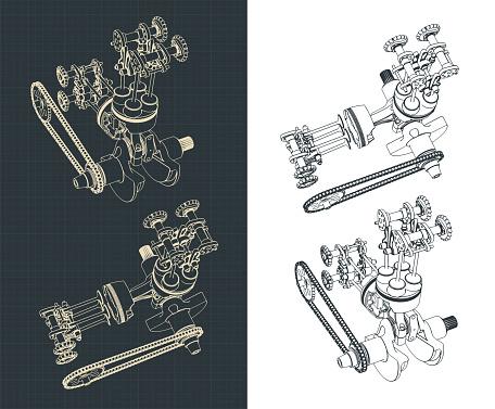 Motorcycle engine part drawings