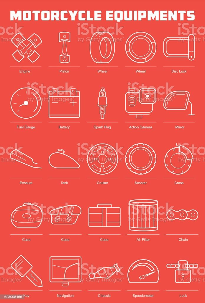 Motorcycle Equipments Icon Set vector art illustration