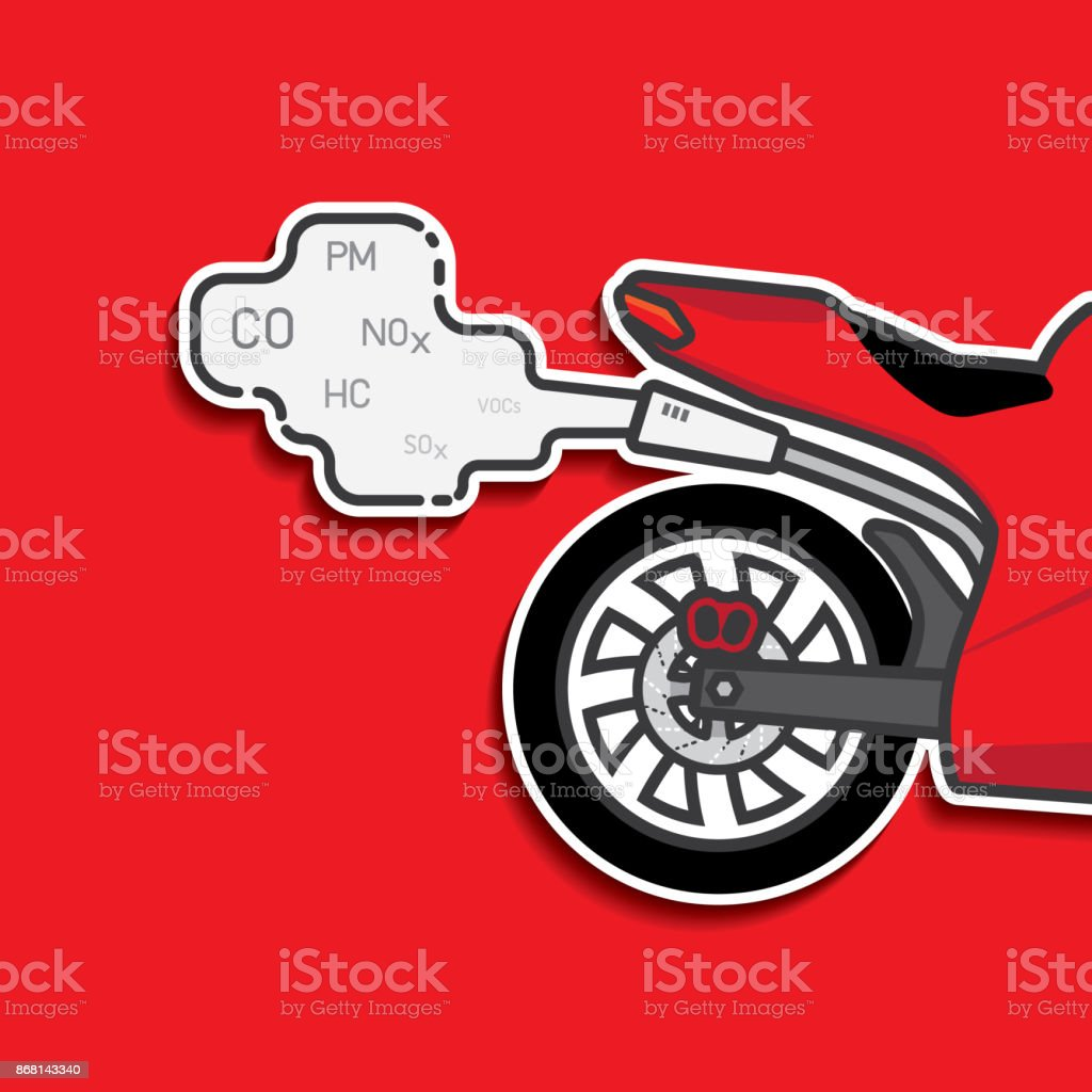 motorcycle exhaust emission from fuel oil vector art illustration