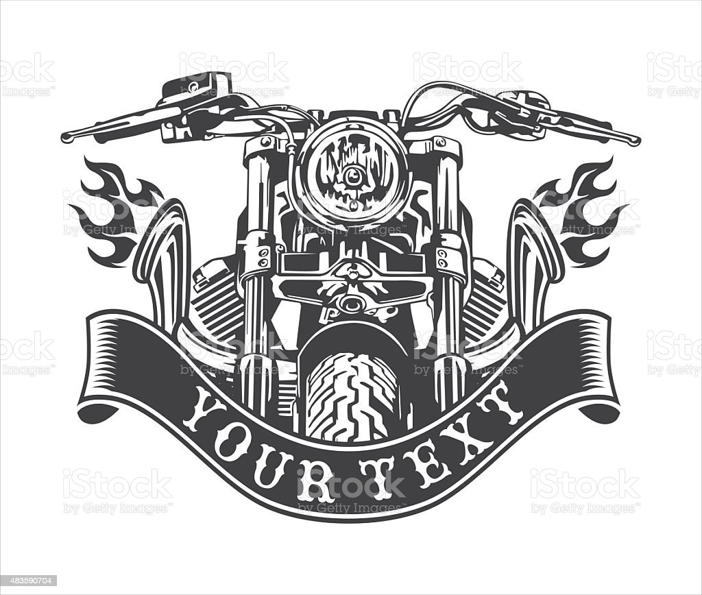 motorcycle exhausts emblem vector art illustration
