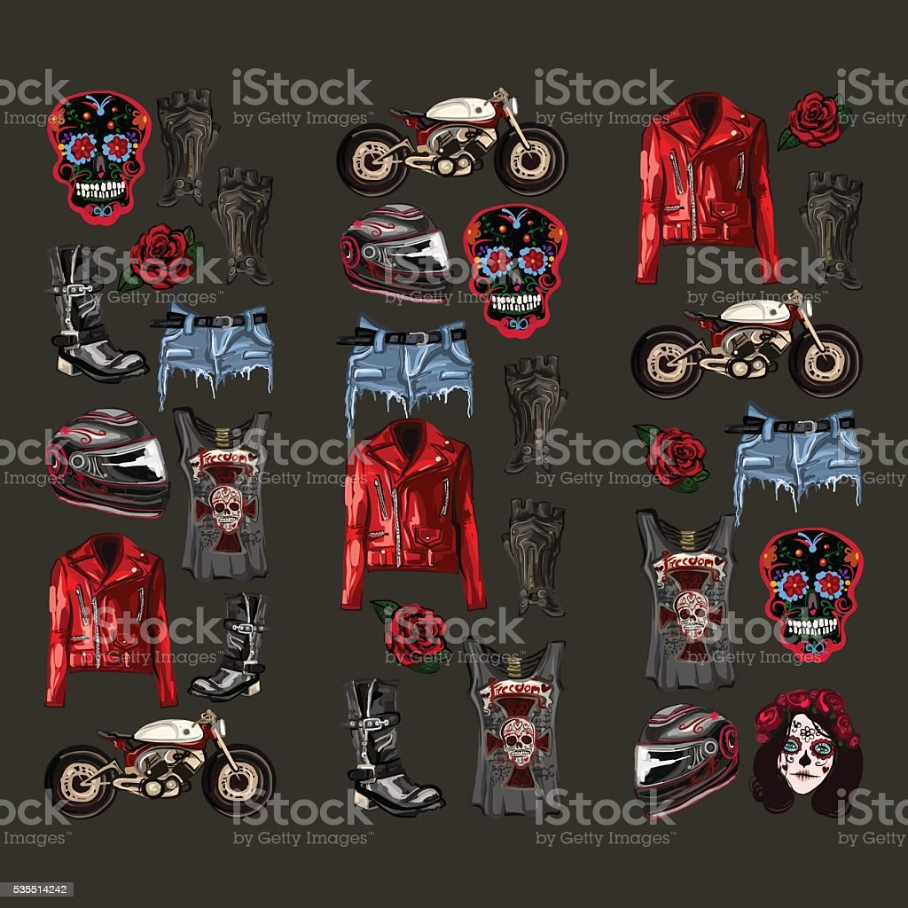 Motorcycle fashion Biker digital watercolor pictures vector art illustration