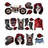 Motorcycle fashion Biker digital watercolor hand drawn images