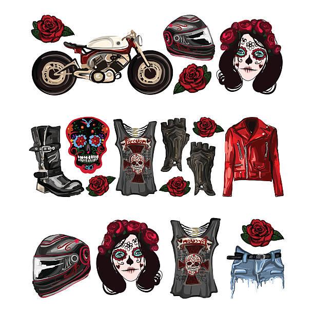 Motorcycle fashion Biker digital watercolor pictures vector art illustration