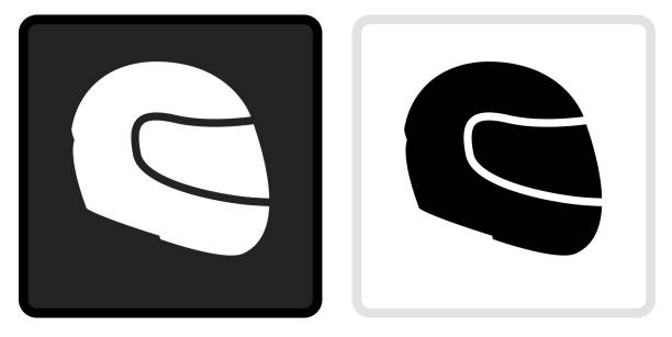 Motorcycle Helmet Icon on  Black Button with White Rollover vector art illustration