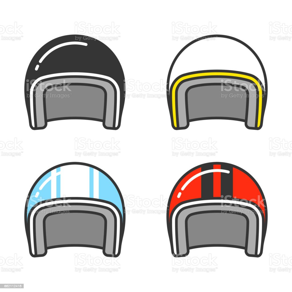 Motorcycle helmet set vector art illustration