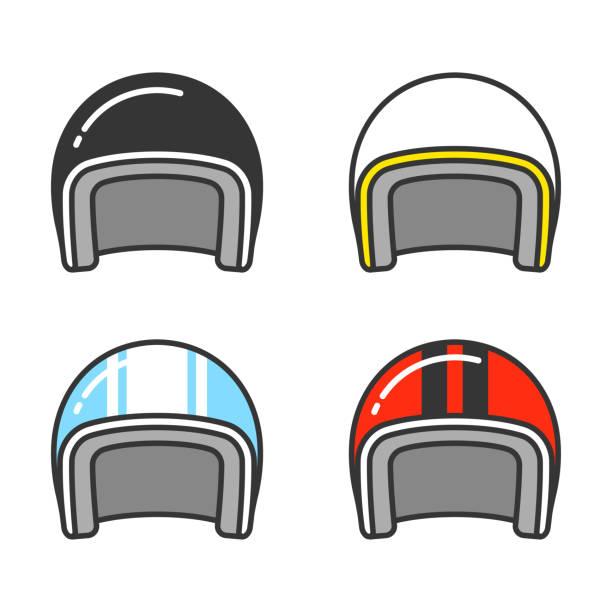 motorrad-helm-set - sportschutzhelm stock-grafiken, -clipart, -cartoons und -symbole