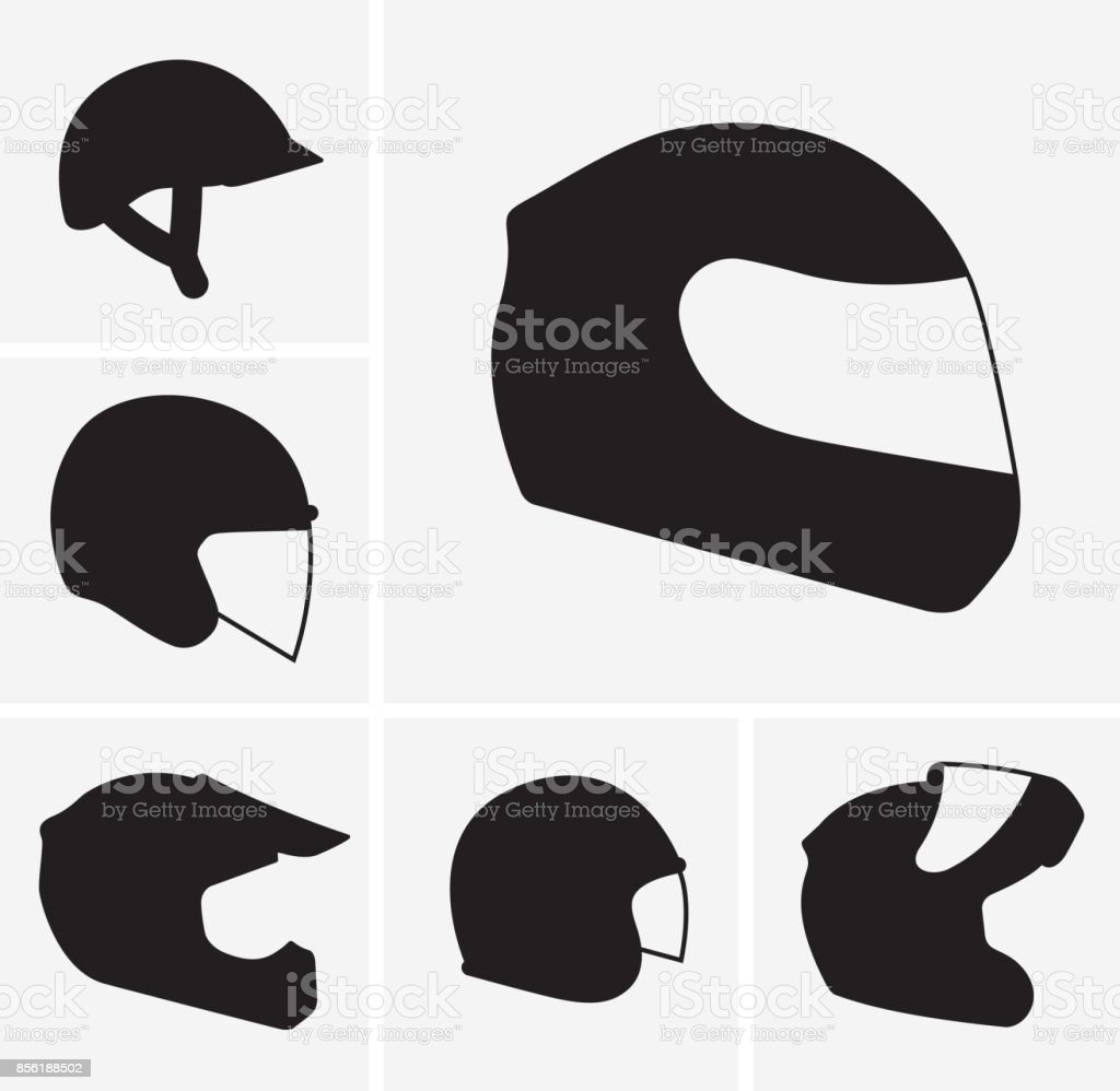 Motorcycle helmets vector silhouette vector art illustration