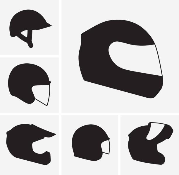 Motorcycle helmets vector silhouette vector art illustration