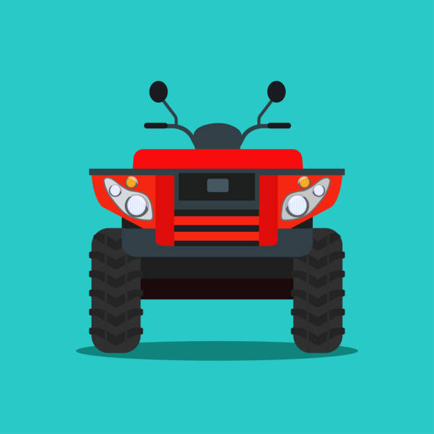 ATV motorcycle isolated. Front view. Vector flat style illustration ATV motorcycle isolated. Front view. Vector flat style illustration quadbike stock illustrations