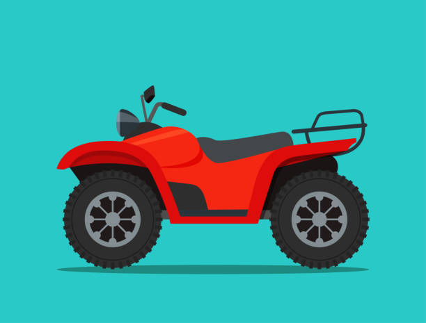 ATV motorcycle isolated. Vector flat style illustration ATV motorcycle isolated. Vector flat style illustration quadbike stock illustrations