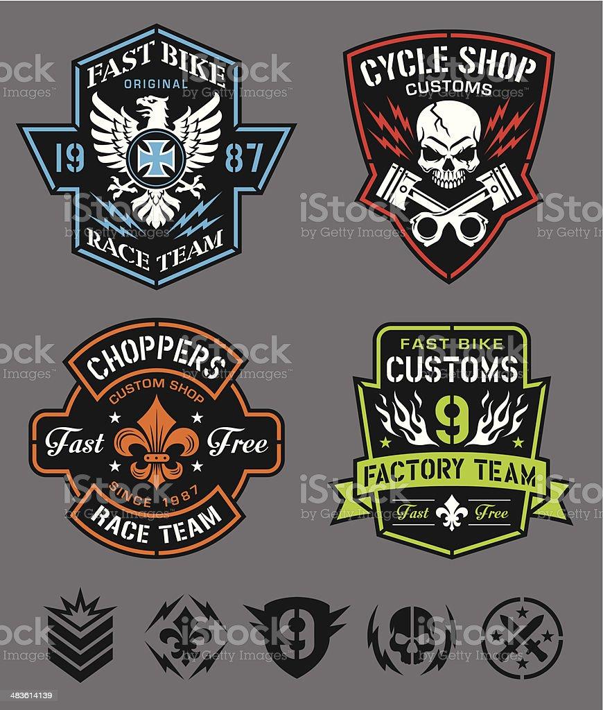 Motorcycle logo badges vector art illustration