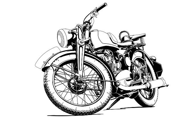 motorcycle old illustration - motorcycle stock illustrations, clip art, cartoons, & icons
