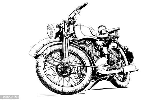 Motorcycle Old Illustration Stock Vector Art & More Images