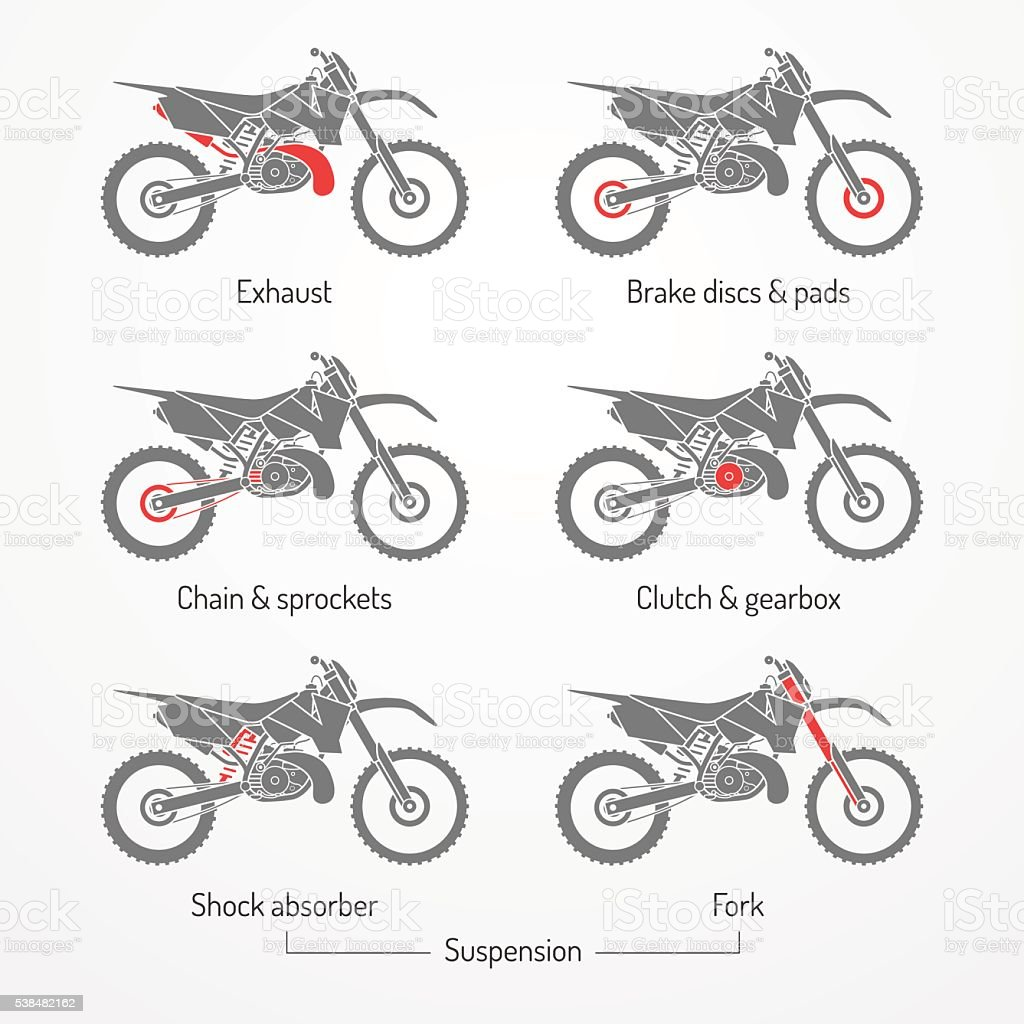 Motorcycle Parts Enduro Stock Vector Art & More Images of Auto ...