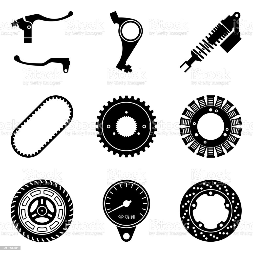 Motorcycle parts icons set. Silhouette vector vector art illustration