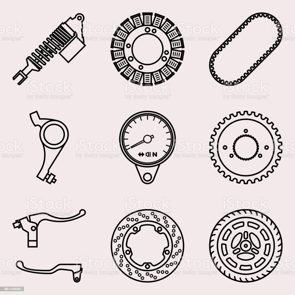 Motorcycle parts icons set. Vector thin line vector art illustration