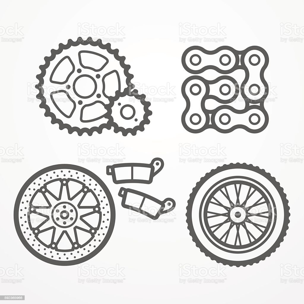 Motorcycle parts icons vector art illustration