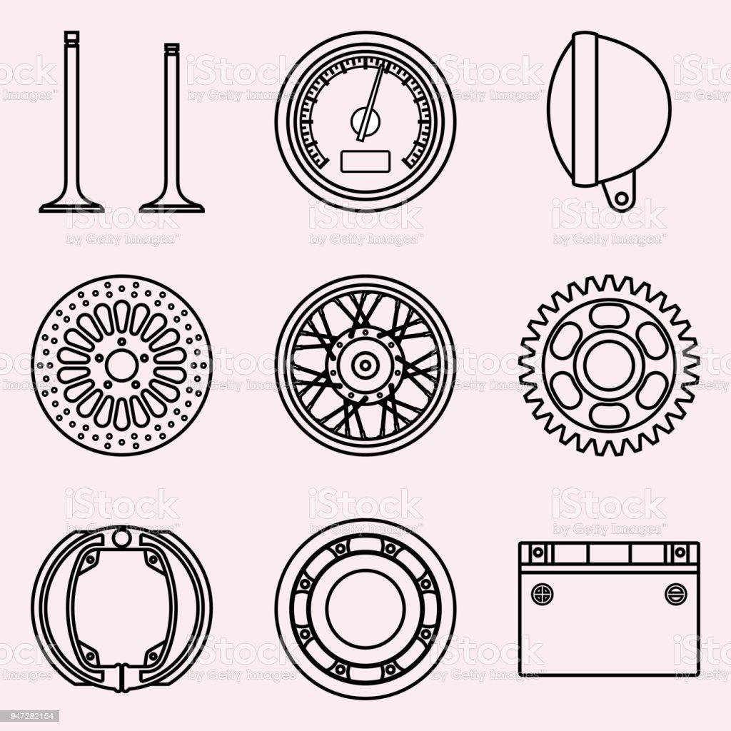 Motorcycle Parts Vector Icon Set Vector Thin Line Stock Vector Art
