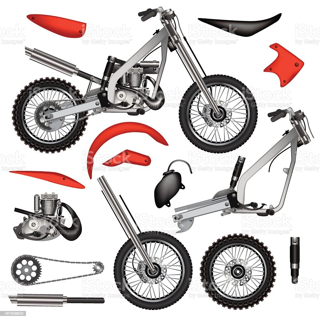 Motorcycle Parts Stock Illustration Download Image Now