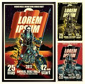 Vector poster,  motorcycle theme,  different variations. eps9
