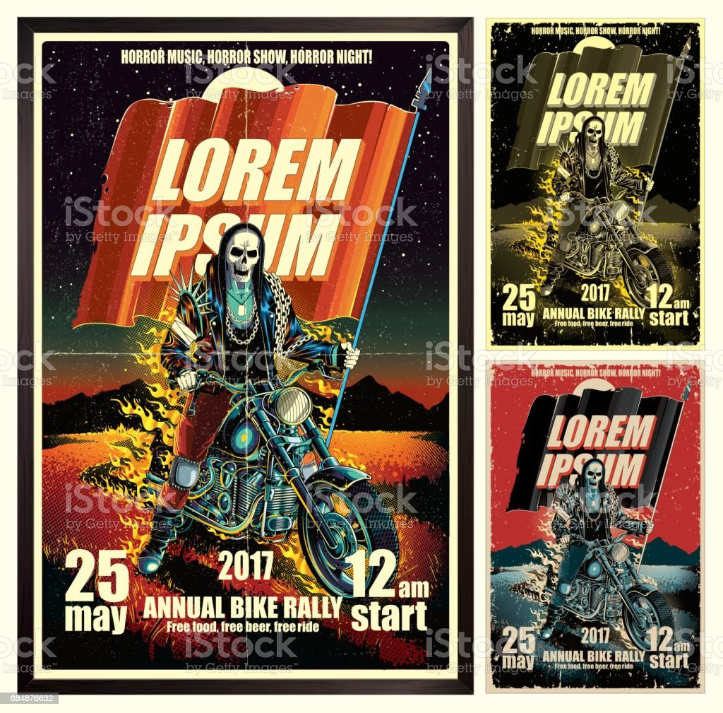 Motorcycle poster vector art illustration