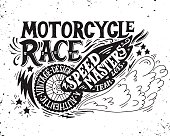 Motorcycle race. Hand drawn grunge vintage illustration with hand lettering