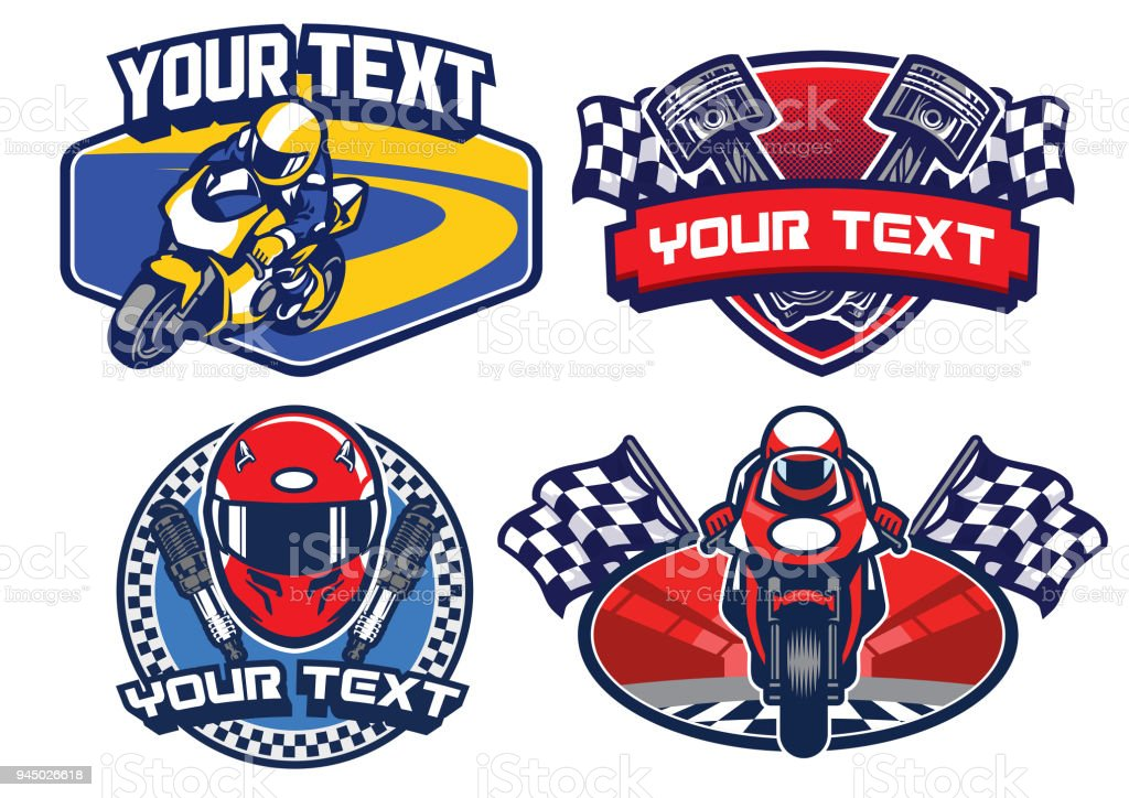 motorcycle racing badge design set vector art illustration
