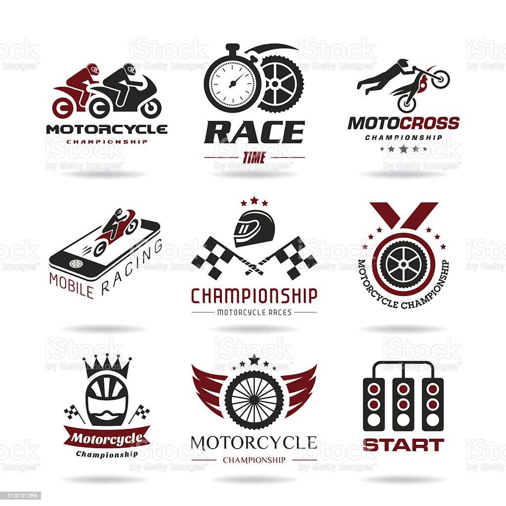 Motorcycle racing icon set vector art illustration