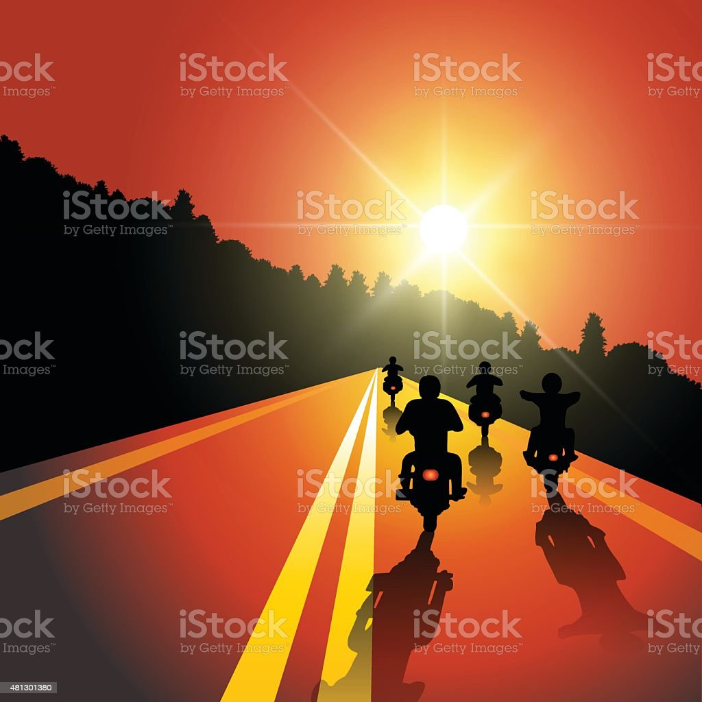 Motorcycle ride vector art illustration