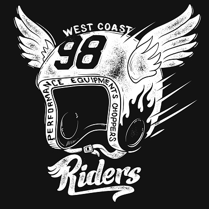 Motorcycle rider helmet, t shirt print design.