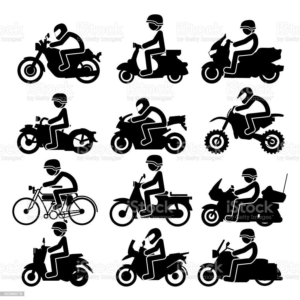 Motorcycle rider Icons set. Vector Illustration vector art illustration