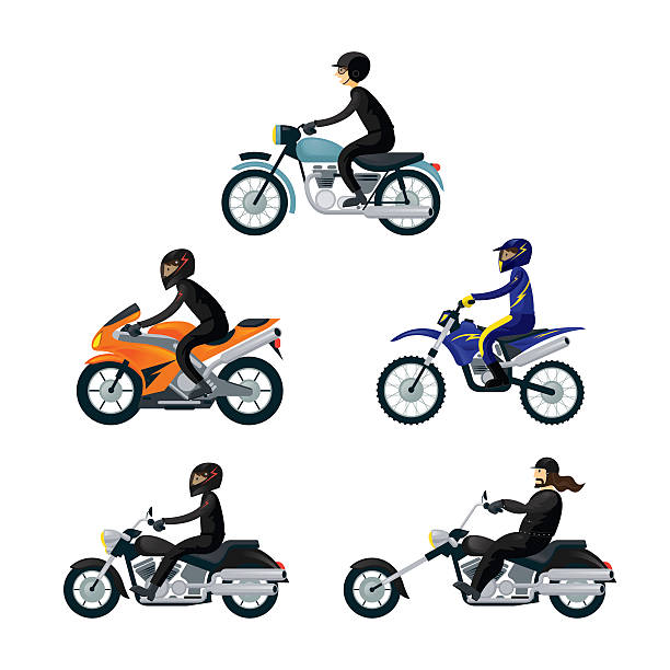 motorcycle riders, bikers, - motorcycle stock illustrations, clip art, cartoons, & icons