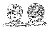 Motorcycle Riders Helmet Drawing