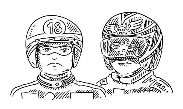 Motorcycle Riders Helmet Drawing Hand-drawn vector drawing of two generic Motorcycle Riders wearing a Helmet. Black-and-White sketch on a transparent background (.eps-file). Included files are EPS (v10) and Hi-Res JPG. motor sport stock illustrations