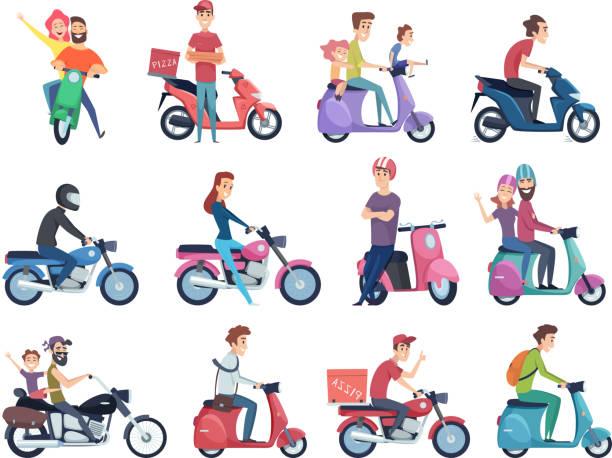 ilustrações de stock, clip art, desenhos animados e ícones de motorcycle riders. male and female drivers in helmet on bike fast courier characters vector pictures collection - helmet motorbike