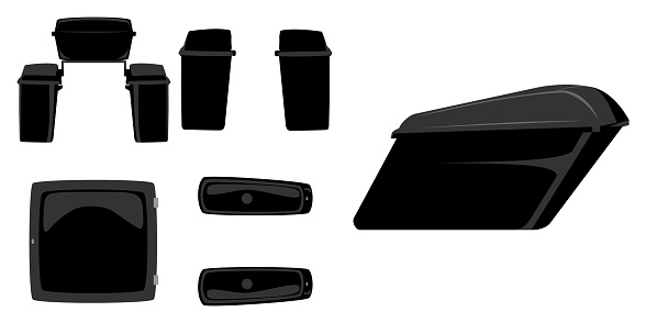 Motorcycle saddle bags spare parts front, rear, side and top view isolated vector illustration