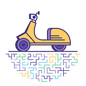 Flat line vector icon illustration of motorcycle & scooter rental with abstract background.