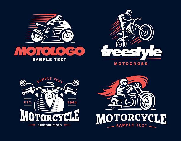 Motorcycle Shield emblem, Illustration. vector art illustration
