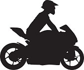 Vctor silhouette of a man riding a motorcycle.