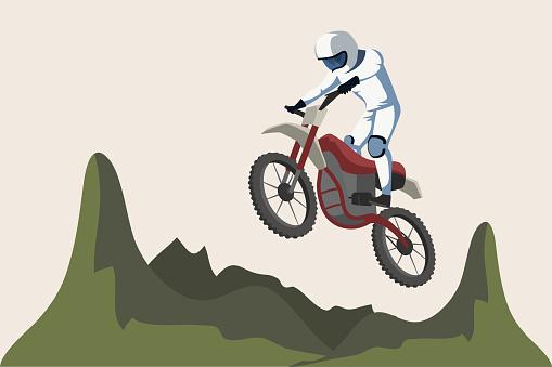 Motorcycle sport flat vector illustration